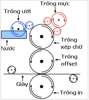Hệ thống trục trong máy in Offset